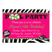 Pink Zebra Pool Party Birthday Invitation