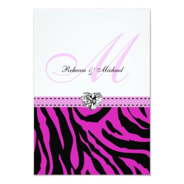 Pink Zebra Wedding RSVP Cards