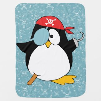 Pirate Penguin Graphic Baby Blanket
