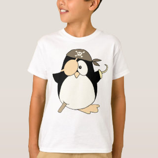 Pirate Penguin Graphic Brown T-Shirt