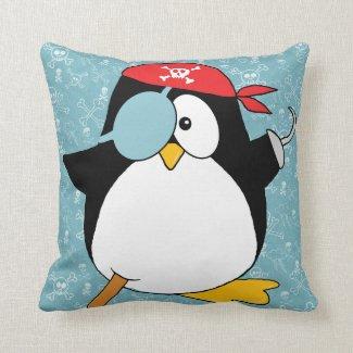 Pirate Penguin Graphic Pillow