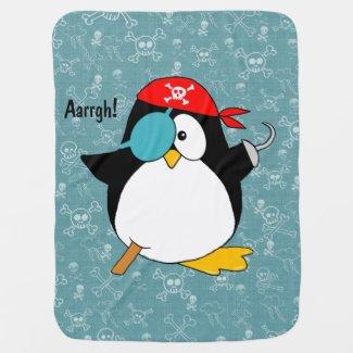 Pirate Penguin Stroller Blanket