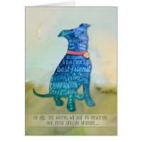 Pitbull Dog Sympathy Card - Of all the Words