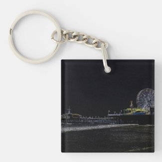 Pitch Black Neon Santa Monica Pier Double-Sided Square Acrylic Keychain