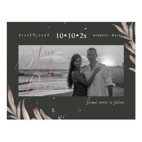 PixDezines Faux Rose Gold Foliage Save our Date Postcard