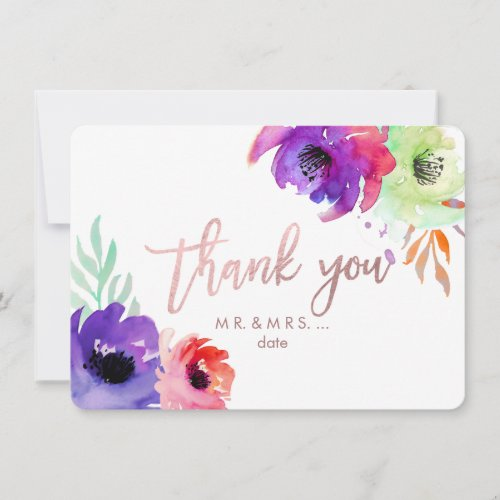 PixDezines Thank You/Floral/Watercolor/Roses Thank You Card