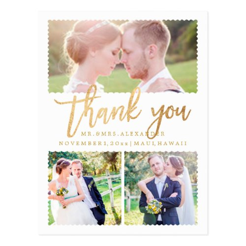 PixDezines Wedding Thank You/Faux Gold Script Postcard