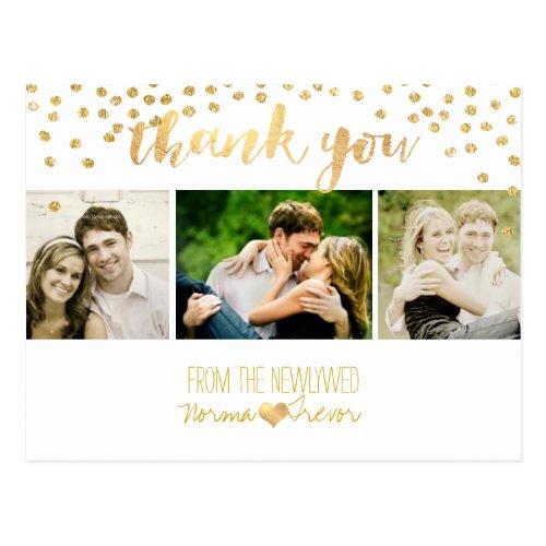 PixDezines wedding thank you/gold confetti Postcard