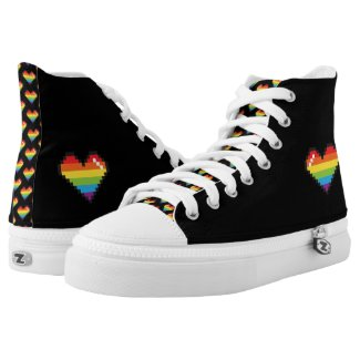 Pixel Rainbow LGBT Pride Printed Shoes