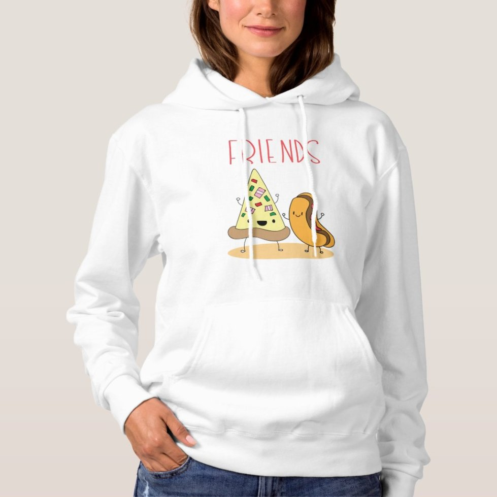 Pizza and Hot Dog Best Friend Hoodie
