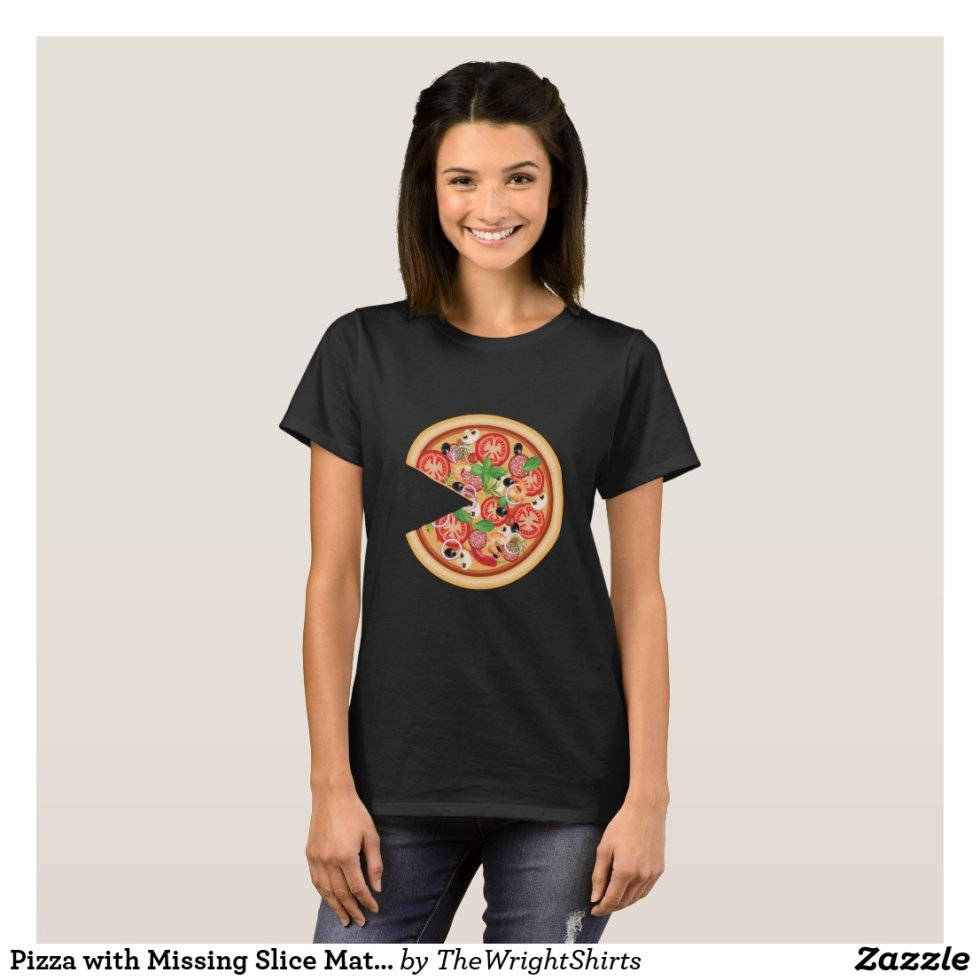 BFF Pizza with Missing Slice Matching Couples T-Shirt