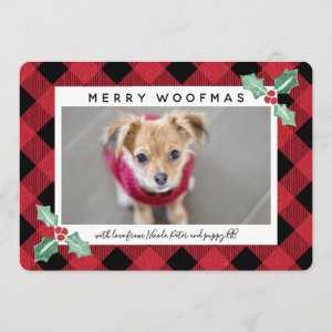 Plaid Frame Holly Corners Pet Holiday Photo Card