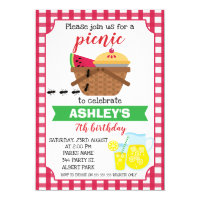 Plaid Picnic Birthday invitation