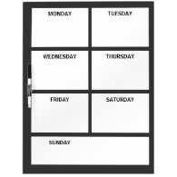 Plain Basic Simple Black White Days of the Week Dry Erase Board