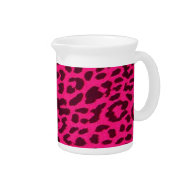 Plain Hot Pink Leopard Print Pitcher on Zazzle