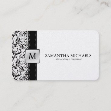 Platnium Damask Monogram Interior Design Business Card
