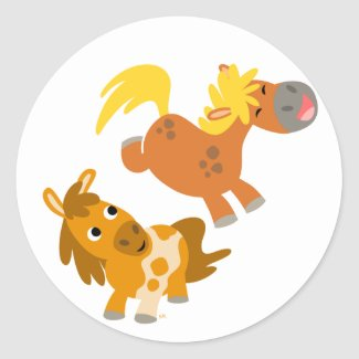 Playful Cartoon Ponies stcker sticker