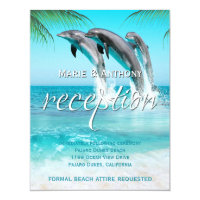 PLAYFUL DOLPHINS TROPICAL OCEAN Reception Card