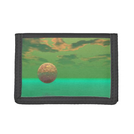 Pleasure, Abstract Gold Green Delight in Life Tri-fold Wallet