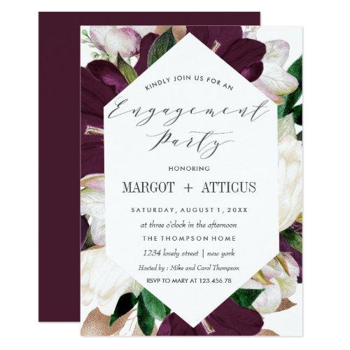 PlumMagnolia Typography Wedding Engagement Party Invitation