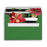 Poinsettias on Black, White Stripes Envelope 2