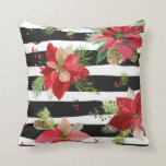 Poinsettias on Black, White Stripes Pillow