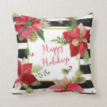 Poinsettias on Black, White Stripes Pillow 2