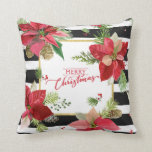 Poinsettias on Black, White Stripes Pillow 3