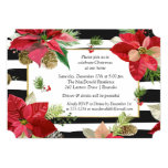Poinsettias on Stripes Christmas Party Invite 2
