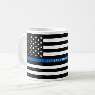 Police Thin Blue Line American Flag Add Name Coffee Mug