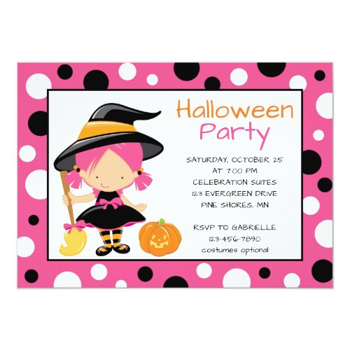Polka Dot Witch Halloween Party Invitations