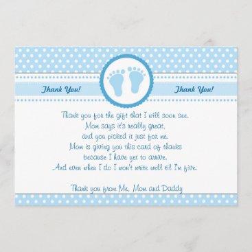Polka Dots Baby Shower Thank You Card Blue Boy