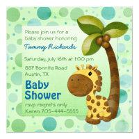 Polka Dots Giraffe - Neutral Baby Shower Card