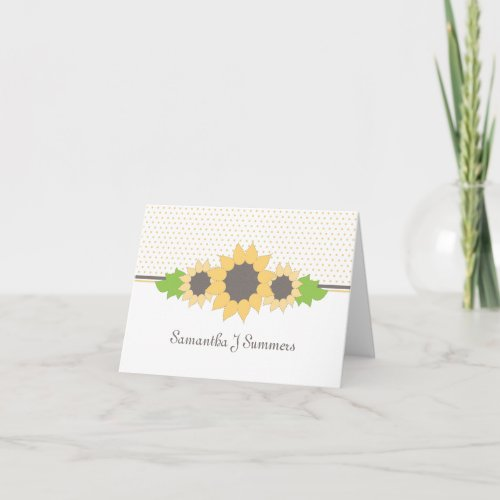 Polka Dots & Sunflowers Personalized Note Card