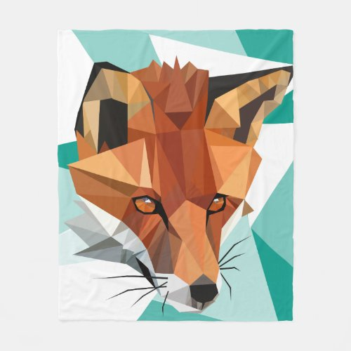 Polygon Red Fox Custom Fleece Blanket