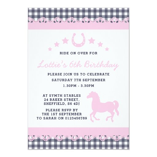 Pony themed birthday party invitation