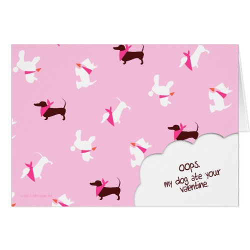 Pooches in Pink Valentines Day Stationery Note Card