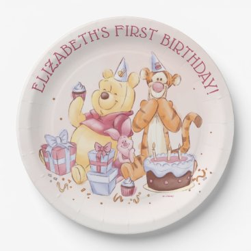 Pooh & Friends Watercolor | First Birthday Paper Plate