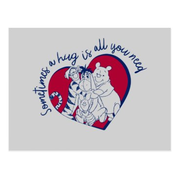 Pooh & Pals   A Hug is all You Need Quote Postcard