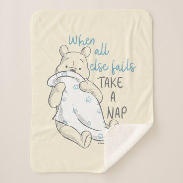 Pooh | Take a Nap Quote Sherpa Blanket