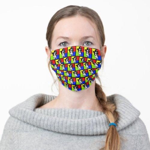 Pop Art Border Collie Face Mask
