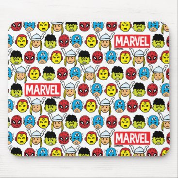 Pop Avengers Character Head Pattern Mouse Pad