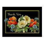 Vintage Inspired Poppy and Cornflowers Thank You Floral Postcard