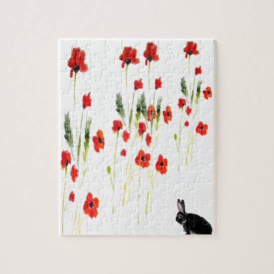 Poppy Flowers Bunny Rabbit Jigsaw Puzzle