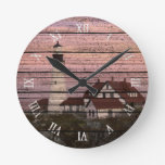 Portland Maine Lighthouse Watercolor Art Round Clock