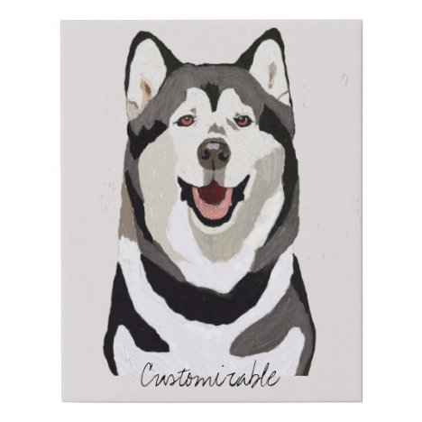 Portrait of a Smiling Husky Black & White Rose Bkg