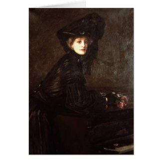 Portrait of a Woman in Black by Sir John Lavery Cards