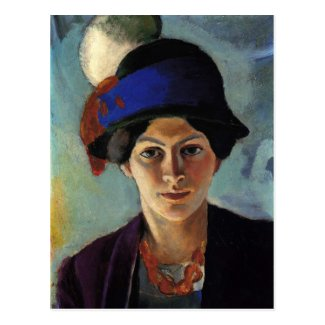Portrait of the Artist's Wife by August Macke Post Cards