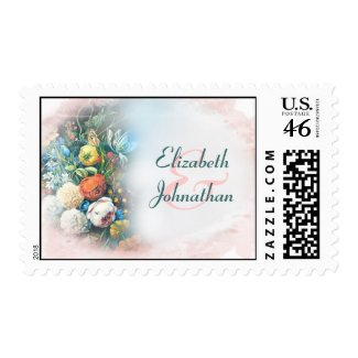 postage vintage colorful flowers wedding stamps