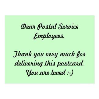 Postal Service Employees Thank you Postcards